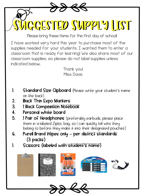 Picture of class supply list